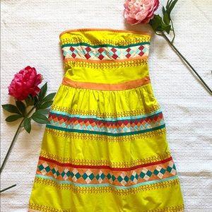 Leifsdotter yellow embroidered strapless dress